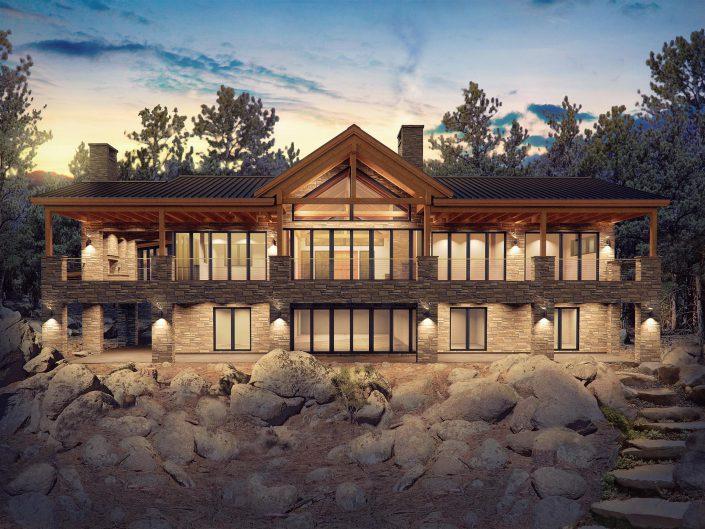 Custom home rendering back view